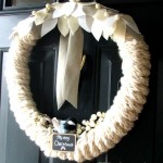 Wool Felt, Finger Knitted, Chickadee Wreath